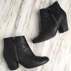 Nordstrom BP leather zip boots black stacked heel